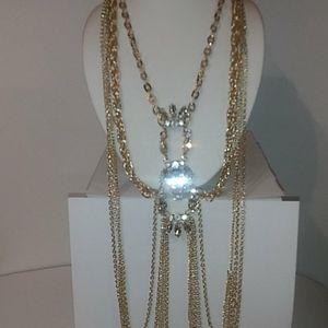 Elegant Gold tone Statement Necklace Faux Gems Nwt